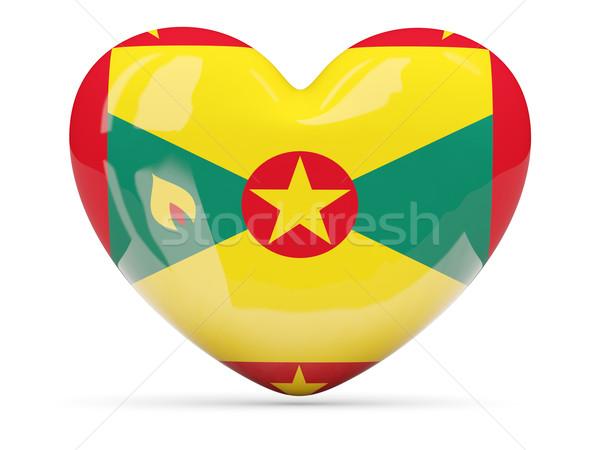 Szív alakú ikon zászló Grenada izolált Stock fotó © MikhailMishchenko