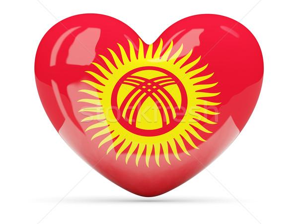 Kalp ikon bayrak Kırgızistan yalıtılmış Stok fotoğraf © MikhailMishchenko