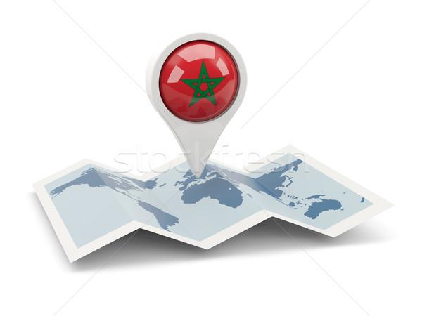 Pin bandera Marruecos mapa viaje blanco Foto stock © MikhailMishchenko