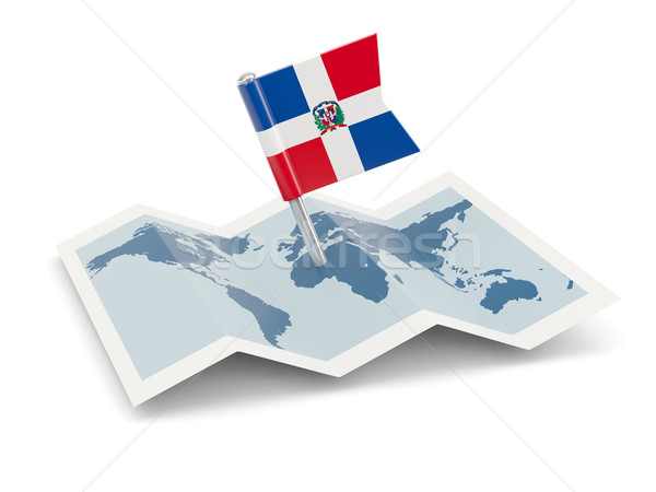 Map with flag of dominican republic Stock photo © MikhailMishchenko