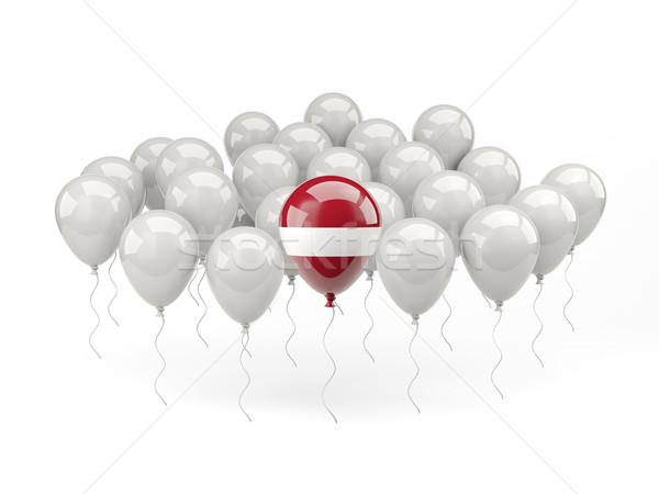 Lucht ballonnen vlag Letland geïsoleerd witte Stockfoto © MikhailMishchenko