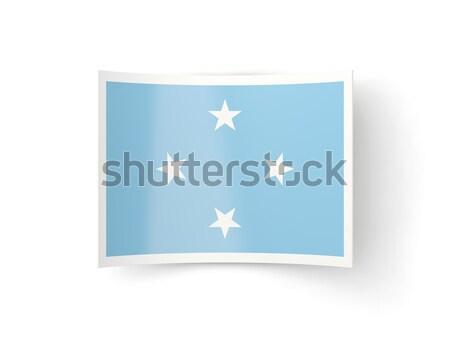 Praça metal botão bandeira Micronésia isolado Foto stock © MikhailMishchenko
