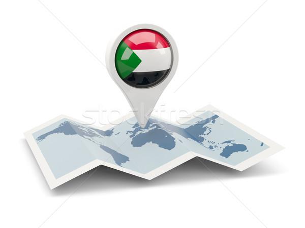 Tő zászló Szudán térkép utazás fehér Stock fotó © MikhailMishchenko