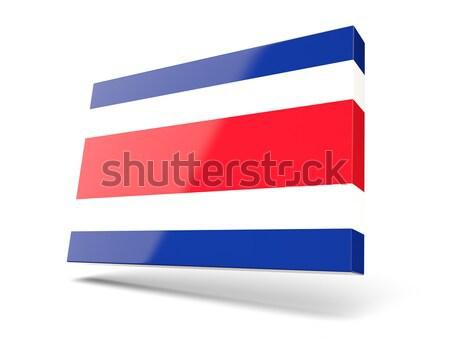 Cuadrados icono bandera Costa Rica aislado blanco Foto stock © MikhailMishchenko