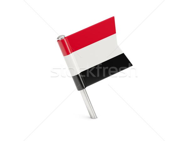 Bandeira pin Iémen isolado branco Foto stock © MikhailMishchenko