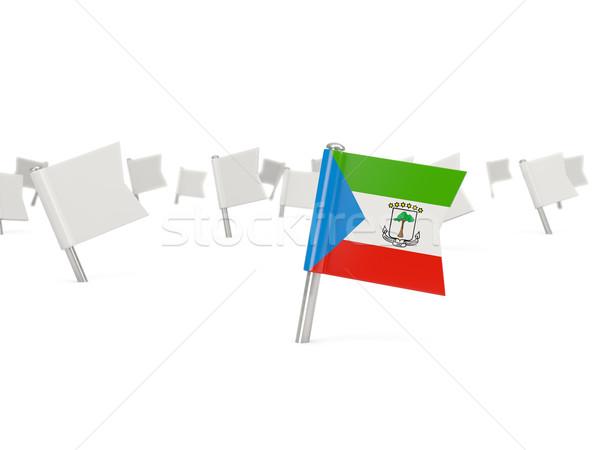 Placu pin banderą Gwinea Równikowa odizolowany biały Zdjęcia stock © MikhailMishchenko