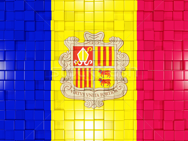Background with square parts. Flag of andorra. 3D illustration Stock photo © MikhailMishchenko
