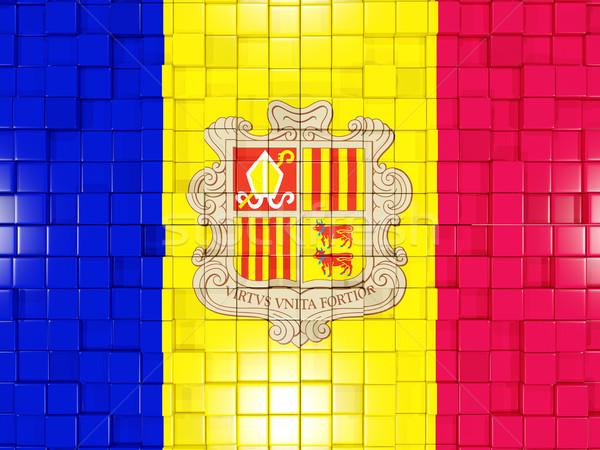 Stockfoto: Vierkante · onderdelen · vlag · Andorra · 3d · illustration · mozaiek