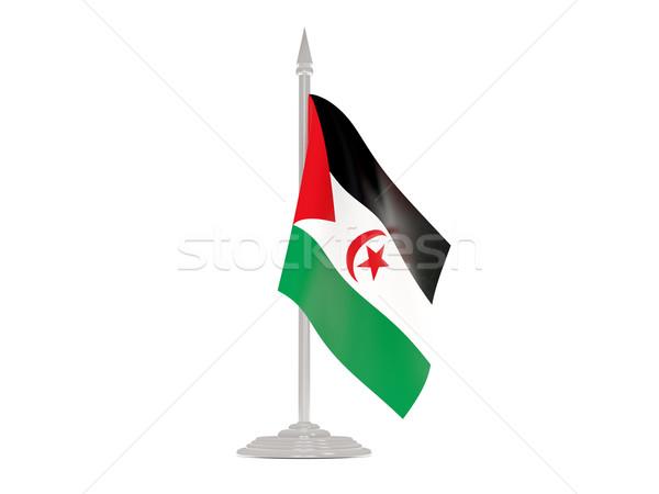 Banderą zachodniej sahara maszt 3d odizolowany Zdjęcia stock © MikhailMishchenko