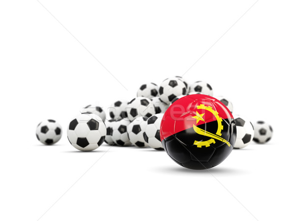 Football with flag of angola isolated on white Stock photo © MikhailMishchenko