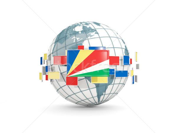 Globe with flag of seychelles isolated on white Stock photo © MikhailMishchenko