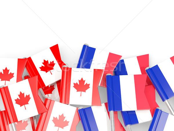 Flag pins of Canada and France isolated on white. 3D illustratio Stock photo © MikhailMishchenko