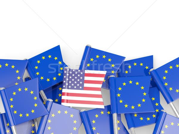 フラグ アメリカ合衆国 eu 孤立した 白 3次元の図 ストックフォト © MikhailMishchenko