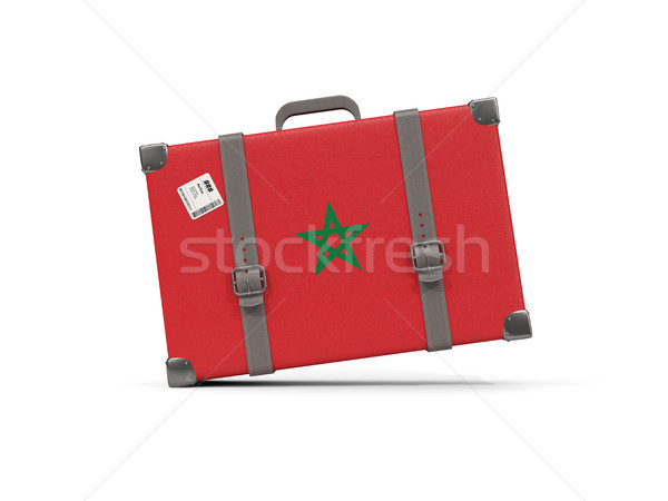 Luggage with flag of morocco. Suitcase isolated on white Stock photo © MikhailMishchenko