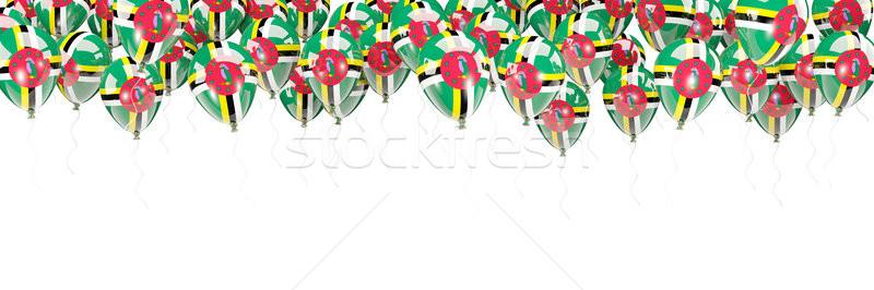 Balões quadro bandeira Dominica isolado branco Foto stock © MikhailMishchenko