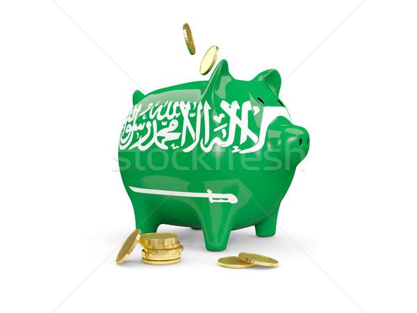 Kövér persely Szaúd-Arábia pénz izolált fehér Stock fotó © MikhailMishchenko