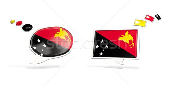 два чате иконки флаг Папуа-Новая Гвинея квадратный Сток-фото © MikhailMishchenko