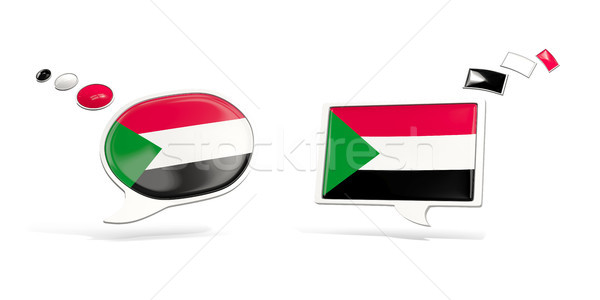 Two chat icons with flag of sudan Stock photo © MikhailMishchenko