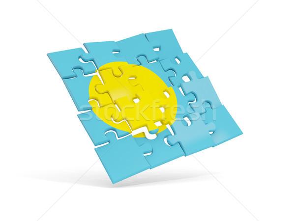 ストックフォト: パズル · フラグ · パラオ · 孤立した · 白 · 3次元の図