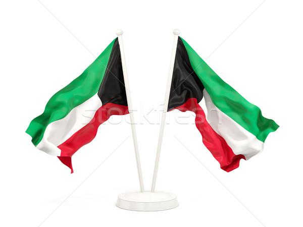 Dois bandeiras Kuweit isolado branco Foto stock © MikhailMishchenko