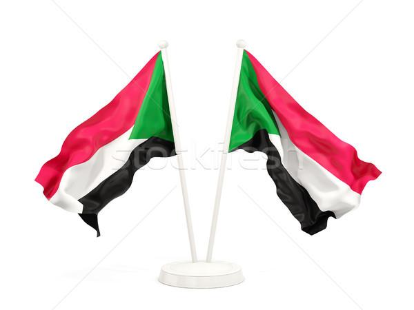 Kettő integet zászlók Szudán izolált fehér Stock fotó © MikhailMishchenko