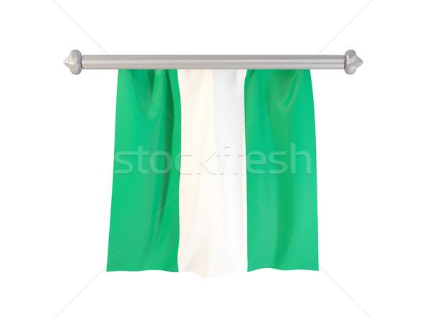 Bandeira Nigéria isolado branco ilustração 3d etiqueta Foto stock © MikhailMishchenko