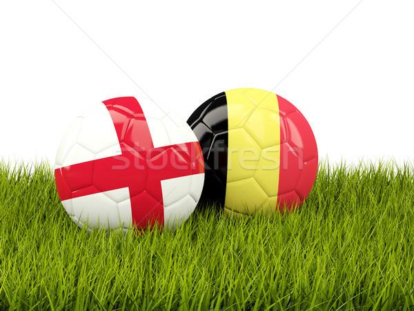 Anglia vs Belgium futball zászlók zöld fű Stock fotó © MikhailMishchenko