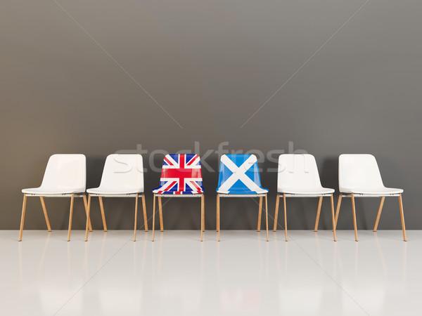 Székek zászló Egyesült Királyság Skócia csetepaté 3d illusztráció Stock fotó © MikhailMishchenko