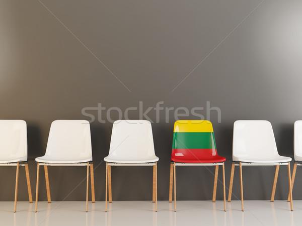 Szék zászló Litvánia csetepaté fehér székek Stock fotó © MikhailMishchenko