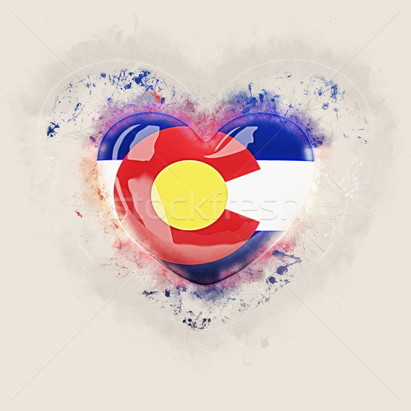 colorado state flag on a grunge heart. United states local flags Stock photo © MikhailMishchenko