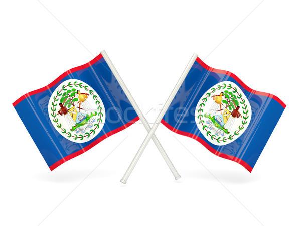 Stock fotó: Zászló · Belize · kettő · hullámos · zászlók · izolált
