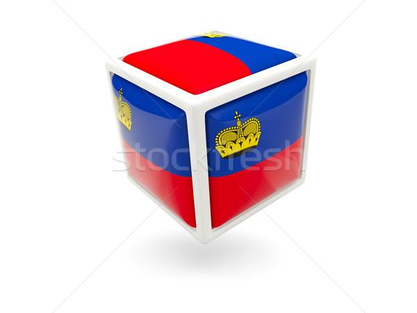 Bandiera Liechtenstein cubo icona isolato bianco Foto d'archivio © MikhailMishchenko