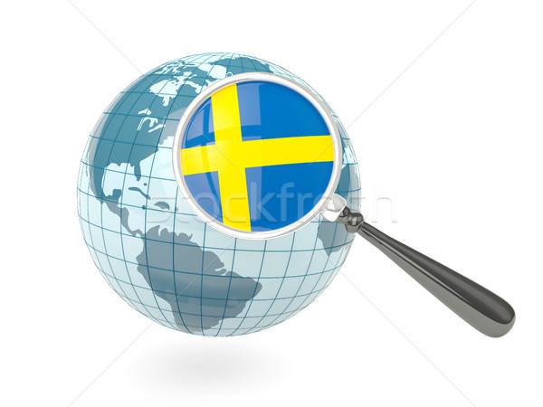 Stok fotoğraf: Bayrak · İsveç · mavi · dünya · yalıtılmış
