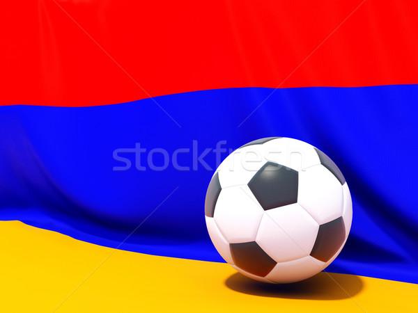 Banderą Armenia piłka nożna zespołu kraju Zdjęcia stock © MikhailMishchenko