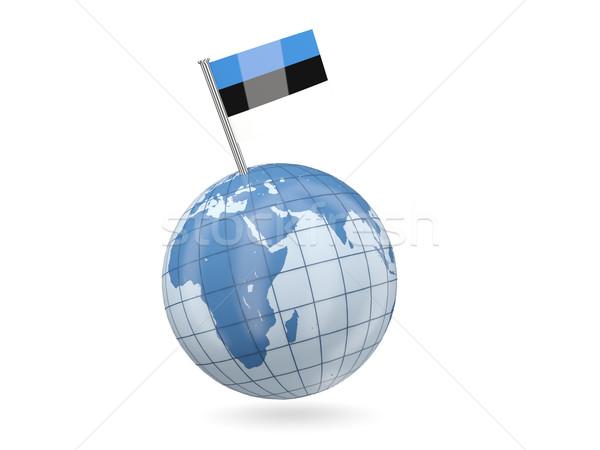 Wereldbol vlag Estland Blauw geïsoleerd witte Stockfoto © MikhailMishchenko