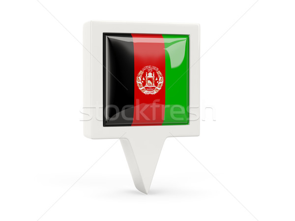 Platz Flagge Symbol Afghanistan isoliert weiß Stock foto © MikhailMishchenko