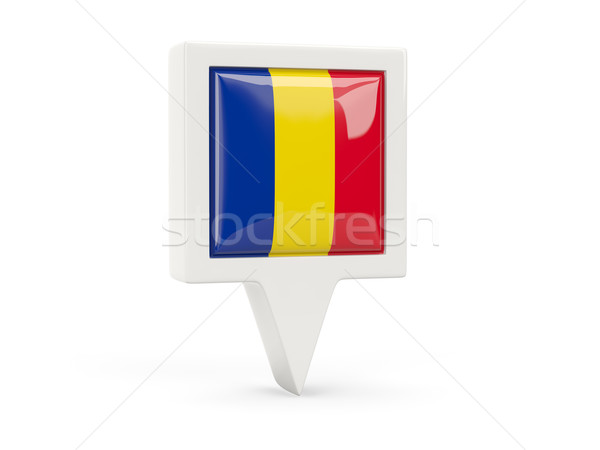 Vierkante vlag icon Roemenië geïsoleerd witte Stockfoto © MikhailMishchenko