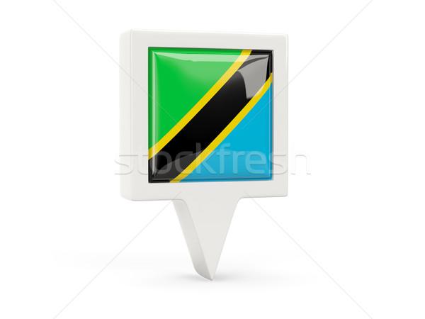 квадратный флаг икона Танзания изолированный белый Сток-фото © MikhailMishchenko