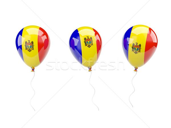 Levegő léggömbök zászló Moldova izolált fehér Stock fotó © MikhailMishchenko