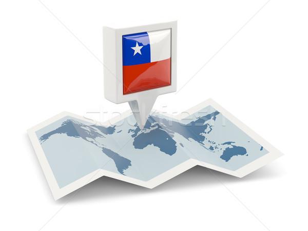Piazza pin bandiera Chile mappa viaggio Foto d'archivio © MikhailMishchenko