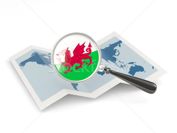 Magnified flag of wales with map Stock photo © MikhailMishchenko
