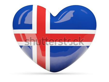 Heart shaped icon with flag of iceland Stock photo © MikhailMishchenko