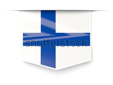 Piazza icona bandiera Finlandia metal frame Foto d'archivio © MikhailMishchenko
