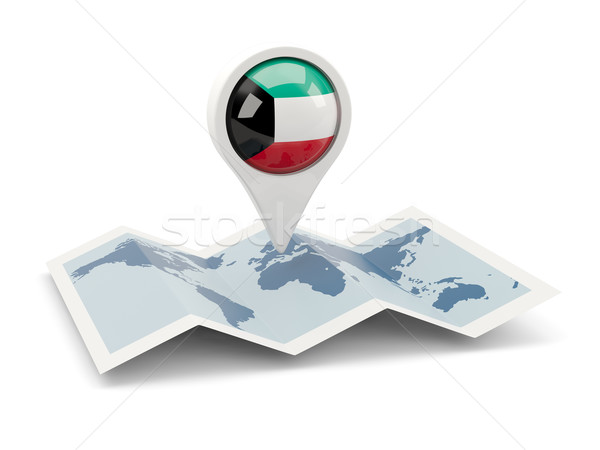 Round pin with flag of kuwait Stock photo © MikhailMishchenko