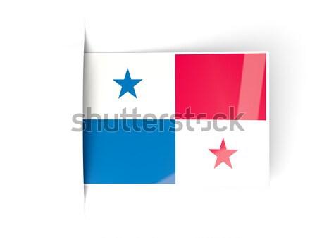 Tér ikon zászló Panama fém keret Stock fotó © MikhailMishchenko