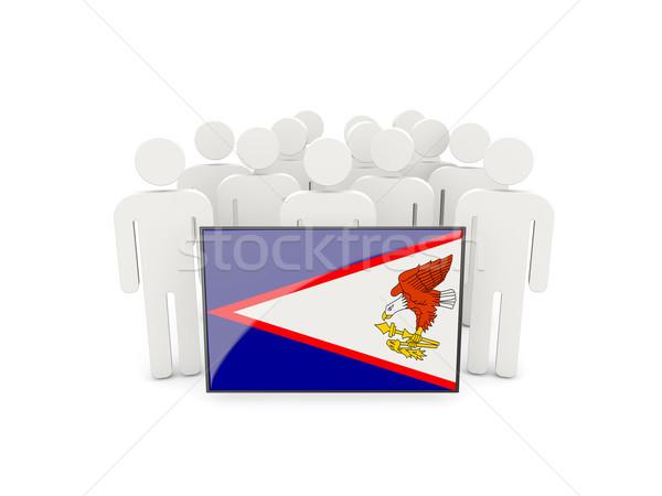 Pessoas bandeira Samoa Americana isolado branco multidão Foto stock © MikhailMishchenko