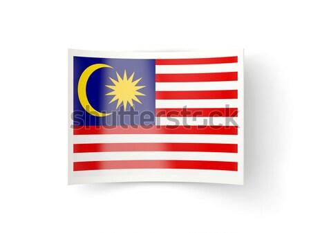 Tér fém gomb zászló Malajzia izolált Stock fotó © MikhailMishchenko
