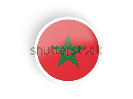 Round sticker with flag of morocco Stock photo © MikhailMishchenko