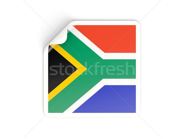 Kare etiket bayrak Güney Afrika yalıtılmış beyaz Stok fotoğraf © MikhailMishchenko