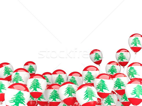 Repülés léggömbök zászló Libanon izolált fehér Stock fotó © MikhailMishchenko
